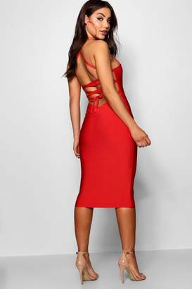 boohoo Premium Bandage Strappy Back Midi Dress