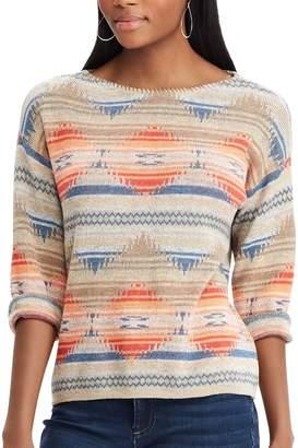 Chaps Women's Southwestern Print Boatneck Sweater