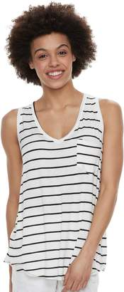 So Juniors' SO Striped Pocket V-Neck Tank