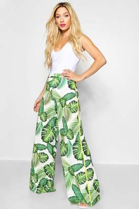 boohoo Wide Leg Palm Print Trousers