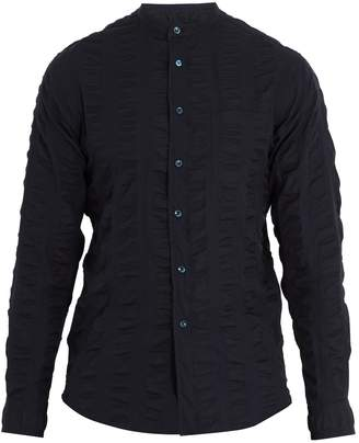 Giorgio Armani Grandad-collar cotton-seersucker shirt