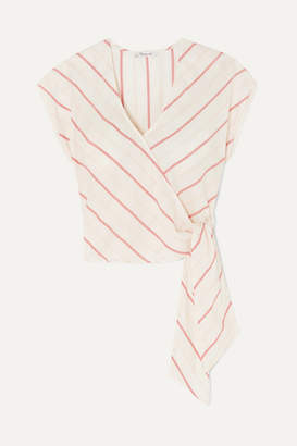 Madewell Striped Cotton-voile Wrap Top - White