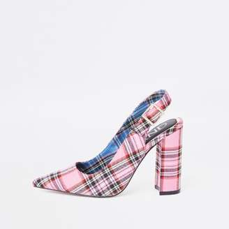 River Island Pink plaid block heel sling back pumps