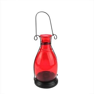 "Northlight 10.5"" Transparent Red Decorative Glass Bottle Vase Tea Light Candle Lantern"