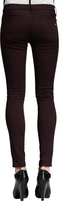 Rag and Bone Mid-Rise Pop Leather-Panel Leggings, Wine/Black