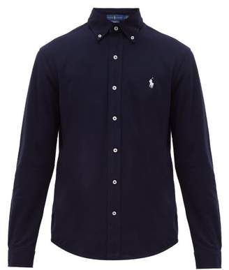 Polo Ralph Lauren Logo Embroidered Cotton Pique Button Down Shirt - Mens - Navy