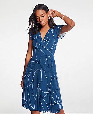Ann Taylor Petite Geo Chiffon Wrap Dress