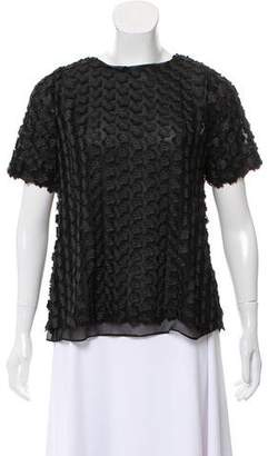 Reiss Appliqué Embellished Short Sleeve Top