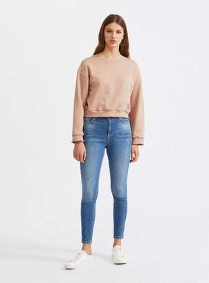 Miss Selfridge Lizzie high waist skinny fit mid wash jeans