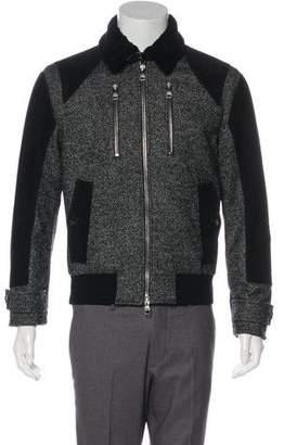 Salvatore Ferragamo Shearling-Trimmed Herringbone Wool Jacket