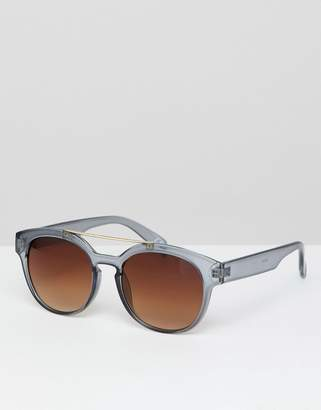 Jeepers Peepers crystal gray square sunglasses