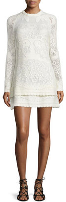 See by Chloe Long-Sleeve Tiered Pointelle Mini Dress, Off White $395 thestylecure.com