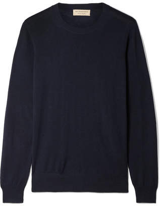 Burberry Merino Wool Sweater - Navy