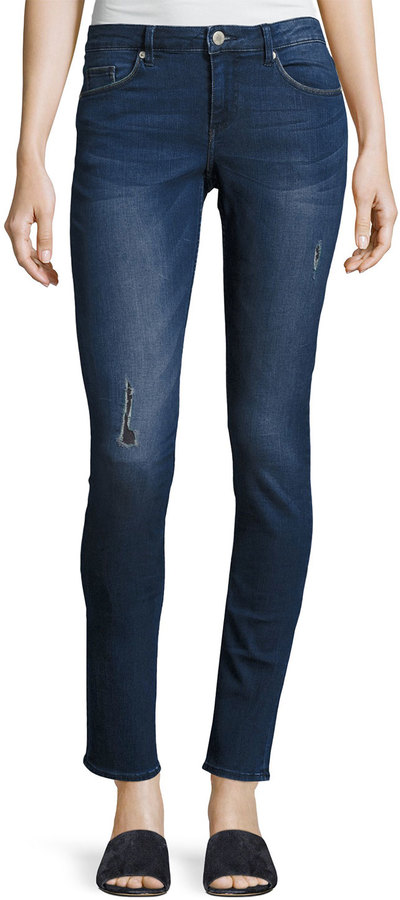 Cheap Monday Cheap Monday Mid Snap Distressed Skinny Jeans, Dark Blue