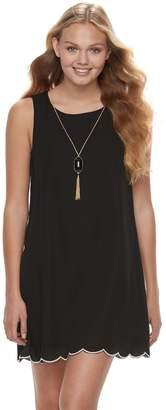 Juniors' Lily Rose Scallop Shift Dress & Necklace Set