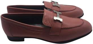 Hermes Pink Leather Flats