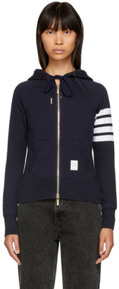 Thom Browne Navy Classic Four Bar Full Zip Hoodie
