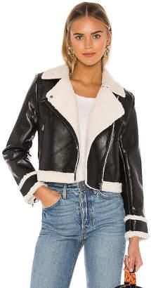 Central Park West Faux Fur Hunter Moto Jacket