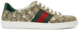 Gucci Beige and Brown GG Supreme Bees Ace Sneakers