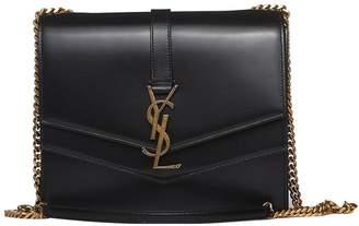 Saint Laurent Suplice Medium In Black Smooth Leather