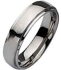 Steel by Design Stainless Steel Ridged Edge 6mm Polished Ring