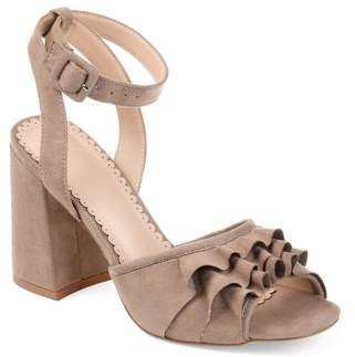 Brinley Co. Womens Ruffle Faux Suede Ankle-strap Heels