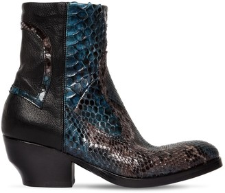 Rocco P. 50MM LEATHER & PYTHON SKIN ANKLE BOOTS