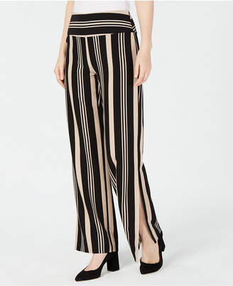 INC International Concepts I.n.c. Striped Lace-Up Slit Wide-Leg Pants, Created for Macy's