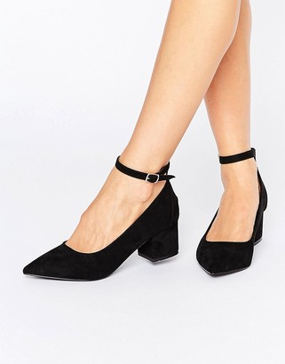 Oasis Pointed Block Heel With Ankle Strap $53 thestylecure.com
