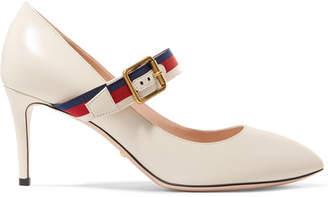 Gucci Sylvie Grosgrain-trimmed Leather Pumps - White