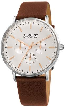 August Steiner Silver Tone Casual Quartz Watch With Leather Strap [AS8256SSBR]