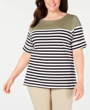 Karen Scott Plus Size Lisa Striped Cuffed-Sleeve Top, Created for Macy's