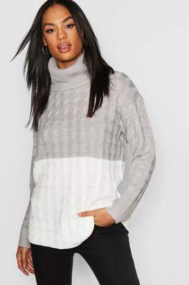 boohoo Tall Colour Block Cable Roll Neck Sweater