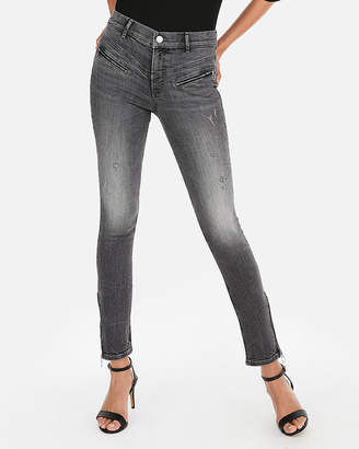 Express Petite High Waisted Denim Perfect Zip Ankle Leggings