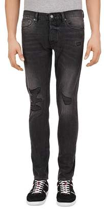 The Kooples Distressed Blue Straight Slim Fit Jeans in Black Washed