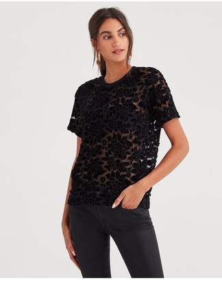 7 For All Mankind Easy Lace Top In Black