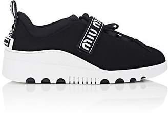 Miu Miu Women's Logo-Strap Tech-Knit Platform Sneakers - Nero