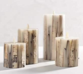 Pottery Barn Premium Flicker Flameless Birch & Stick Inclusion Pillar Candle