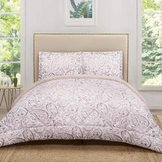 Truly Soft Watercolor Paisley Blush Pink Twin Extra Long Comforter Set