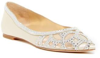 Badgley Mischka Sunny Embellished Satin Flat