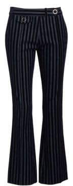 Derek Lam 10 Crosby Women's Velvet Stripe Cropped Trousers - Dark Indigo - Size 0