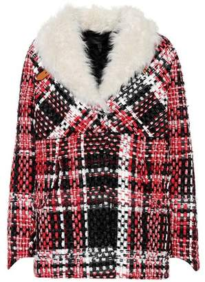 Rag & Bone Shearling-trimmed plaid jacket