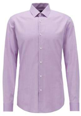 BOSS Hugo Slim-fit shirt in patterned dobby cotton 16 Purple