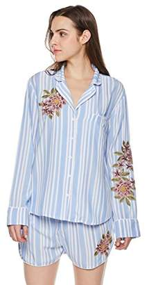 Rebel Canyon Young Womens Long Sleeve Button Front Stripe Pajama Top with Chest and Sleeve Embroidery