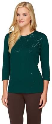 Factory Quacker Mini Sequin 3/4 Sleeve 1x1 Rib T-shirt