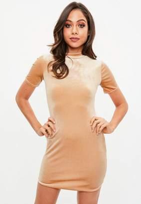 Missguided Nude High Neck Velvet Dress, Gold