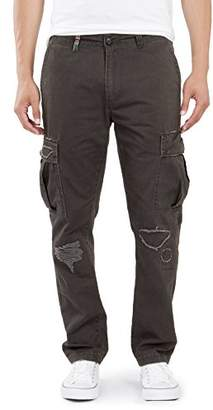 UNIONBAY Men's Vintage Twill Relaxed Fit Rip and Repair Cargo Pants