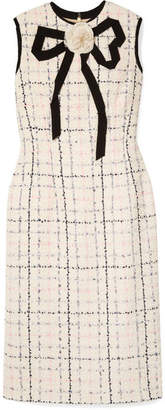Gucci Grosgrain-trimmed Checked Tweed Dress - Ivory