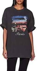 Balenciaga Women's Paris-Print Cotton T-Shirt - Black