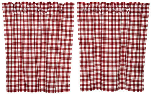Red Buffalo Check Cotton Tier Curtain - Set of Two